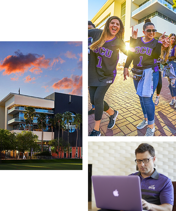 Collage of students on campus